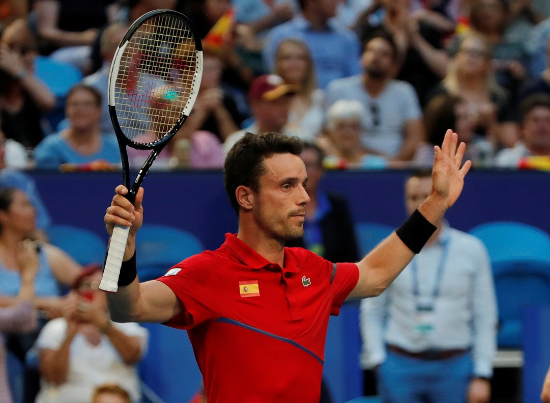 Tennis - ATP Cup - RAC Arena, Perth, Australia - January 6, 2020 Spain's Roberto Bautista Agut celebrates winning his Group B singles match against Uruguay's Franco Roncadelli REUTERS/Ciro De Luca