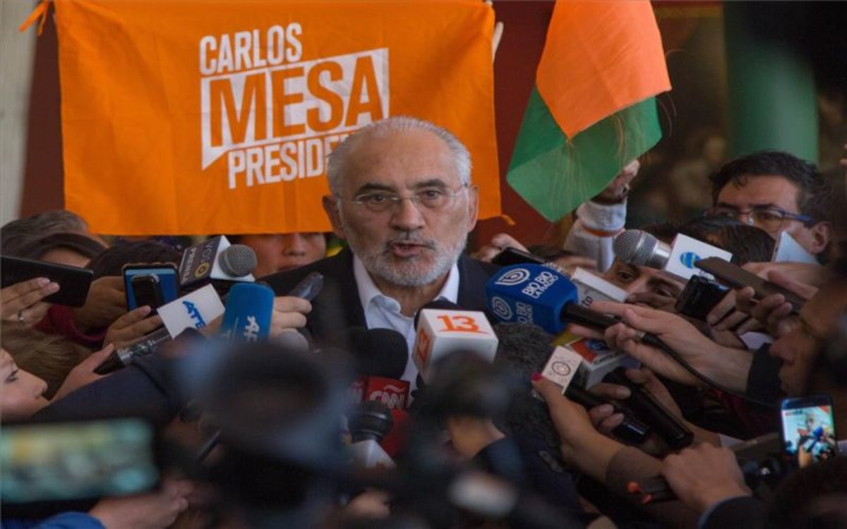 Carlos Mesa, candidato opositor a la presidencia de Bolivia.