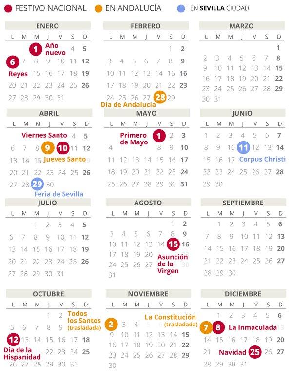 Calendario Laboral Sevilla 2020 Con Todos Los Festivos