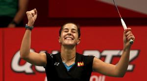Carolina Marín, feliç a l'imposar-se a Ji Hyun Sung i passar a la final del Mundial a Jakarta.