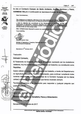 Carta que Meritxell Serret redactó para comunicar a la UE la proclamación de la independencia de Catalunya.