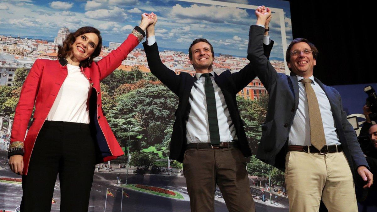 Pablo Casado, durante la presentación de loscandidatos del PP a la Comunidad y el Ayuntamiento de Madrid, Isabel Díaz Ayuso y José Luis Martínez-Almeida.