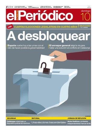 La portada d'EL PERIÓDICO del 10 de novembre del 2019
