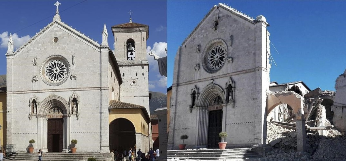 Catedral de San Benedicto, antes y despúes de los terremotos.