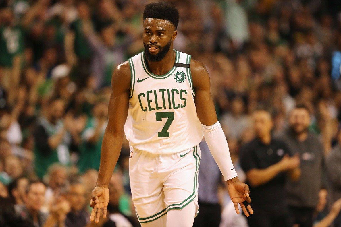 BOSTON, MA - MAY 15: Jaylen Brown #7 of the Boston Celtics gestures after making a basket in the first half against the Cleveland Cavaliers during Game Two of the 2018 NBA Eastern Conference Finals at TD Garden on May 15, 2018 in Boston, Massachusetts. NOTE TO USER: User expressly acknowledges and agrees that, by downloading and or using this photograph, User is consenting to the terms and conditions of the Getty Images License Agreement. Maddie Meyer/Getty Images/AFP