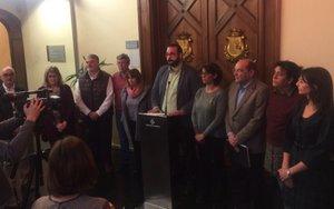 Comparecencia de los grupos municipales en el Ayuntamiento de Mataró.
