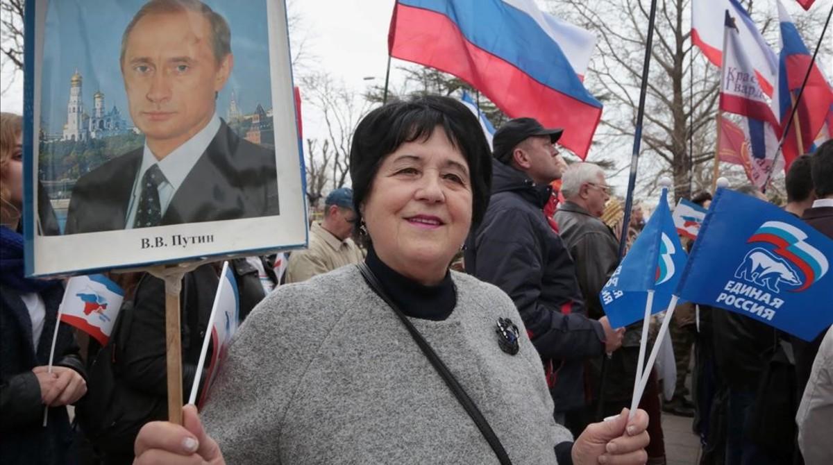 Conmemoración del aniversario de la anexión de Crimea en Simferopol.
