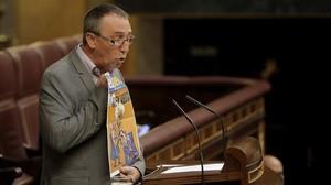El diputado de Compromís en el Congreso, Joan Baldoví, en un pleno de la Cámara baja.