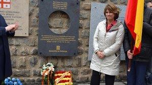 Dolores Delgaado en Mauthausen, este domingo.