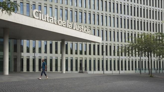 La entrada de la Ciutat de la Justícia.