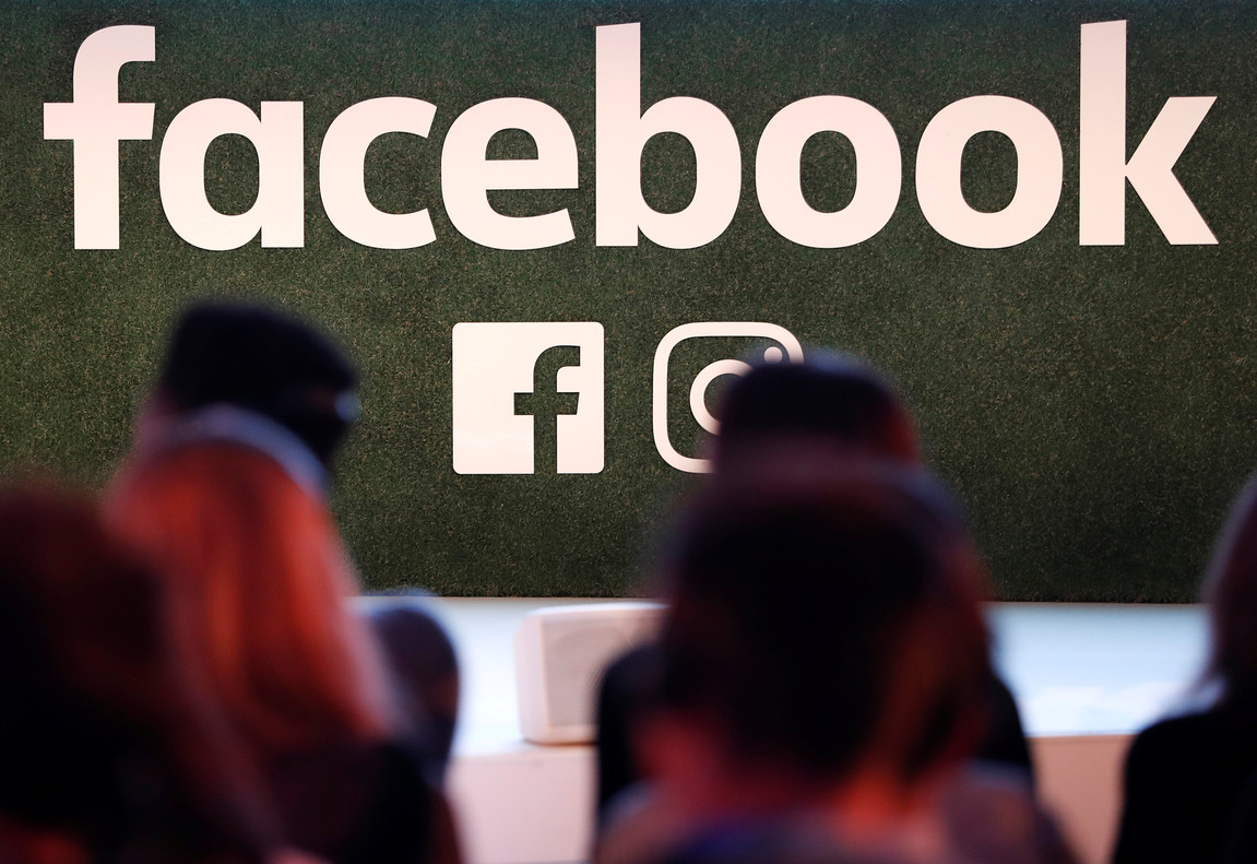 A Facebook logo is seen at the Facebook Gather conference in Brussels, Belgium January 23, 2018. REUTERS/Yves Herman