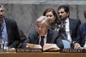 António Guterres, mientras habla durante reunión del Consejo de Seguridad sobre el mantenimiento de la paz y la seguridad internacionales celebrado la sede del organismo la ONU en Nueva York.