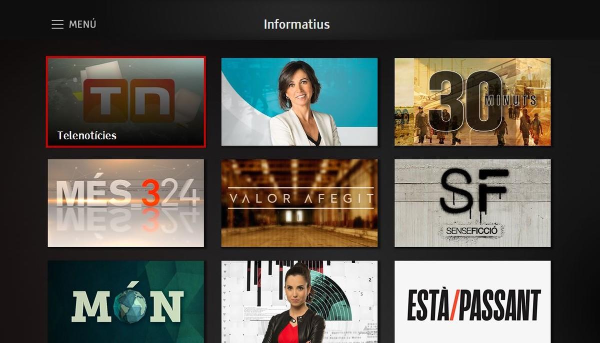 Interfaz de la nueva televisión híbrida de TV-3