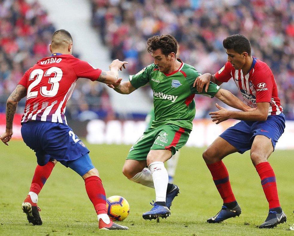 Ibai Gómez en el Wanda Metropolitano en el partido ante el Atlético de Madrid