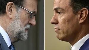 Imagen de archivo del presidente del Gobierno, Mariano Rajoy y el secretario general del PSOE, Pedro Sánchez.
