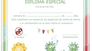 Imagen del diploma de EL PERIÓDICO para los niños.
