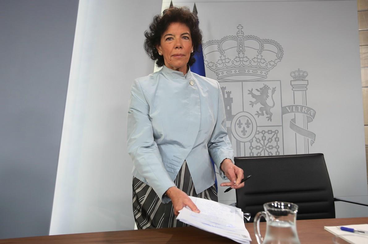Isabel Celaá, en la rueda de prensa posterior al Consejo de Ministros.