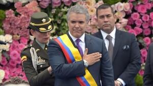 Iván Duque tras ser envestido presidente deColombia en la Plaza Bolivar de Bogotá.