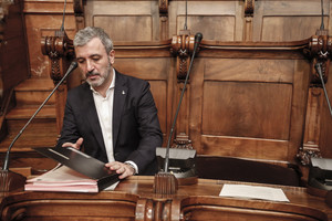 Jaume Collboni, en un pleno del Ayuntamiento de Barcelona.