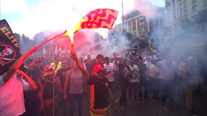 La vaga de taxistes, en imatges