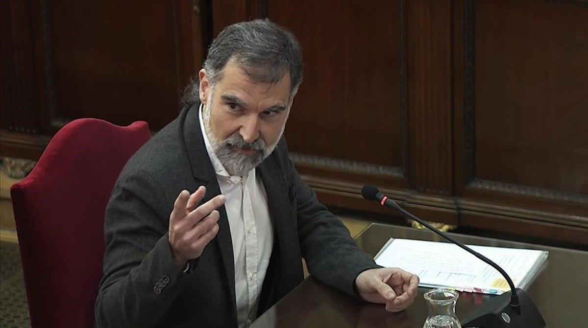 Jordi Cuixart, durante su declaración en el Supremo.