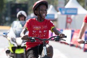 Un niño, durante la Vuelta Junior 2018.