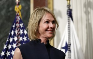 FILE - In this Sept 26 2017 file photo U S Ambassador to Canada Kelly Knight Craft stands during her swearing in ceremony in the Indian Treaty Room in the Eisenhower Executive Office Building on the White House grounds in Washington The Senate has confirmed Craft to become the next U S envoy to the United Nations AP Photo Alex Brandon File