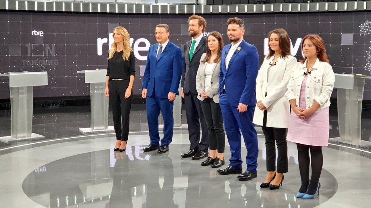 Los portavoces de los siete partidos que participaron en el debate de TVE.