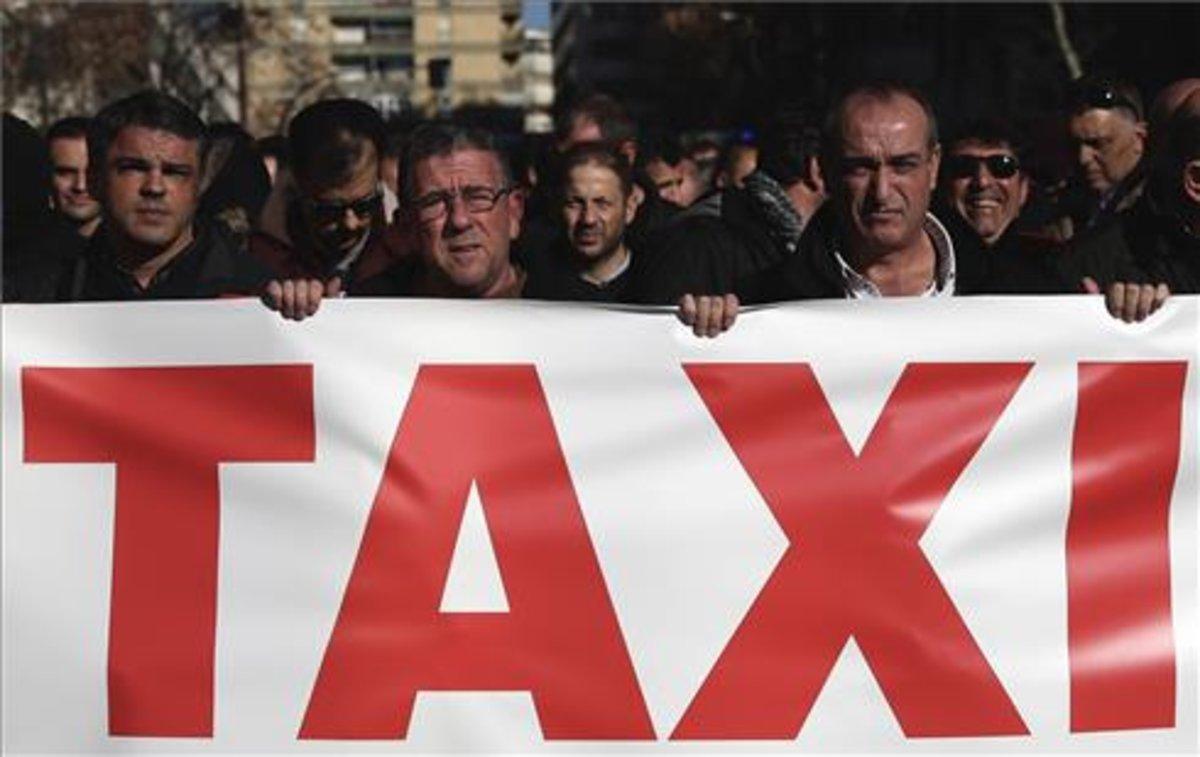 Manifestación de taxistas en Madrid este miércoles.
