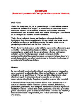 Manifiesto de la asociación Escrivim