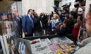 Mariano Rajoy, de paseo por Melilla antes de protagonizar un mitin electoral.