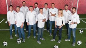 El equipo de presentadores y reporteros de Mediaset que cubrirá el Mundial de fútbol de Rusia.