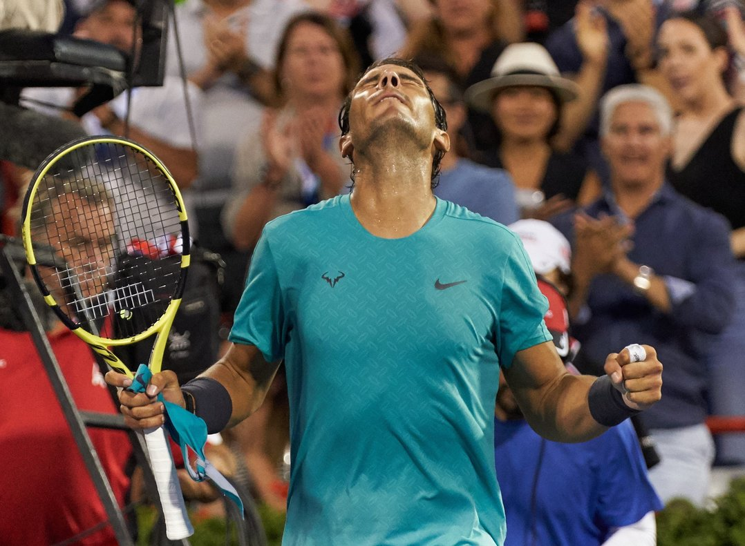 Rafael Nadal celebra la victoria ante Guido Pella, en Montreal.