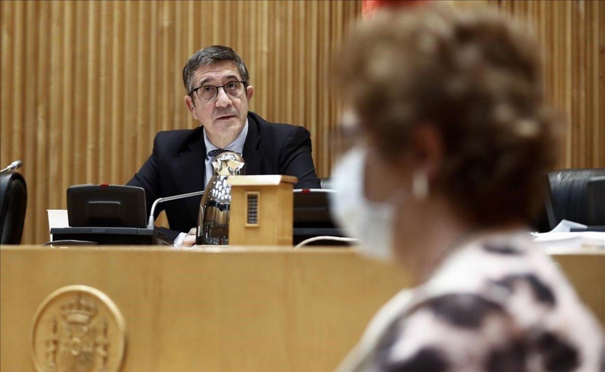 Patxi López, presidente de la comisión de reconstrucción en el Congreso, durante la primera sesión, el pasado 13 de mayo.