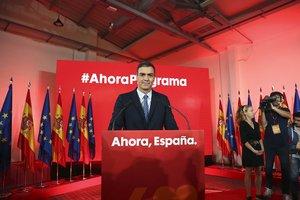Pedro Sánchez, este lunes durante la presentación del programa electoral del PSOE, en Madrid.