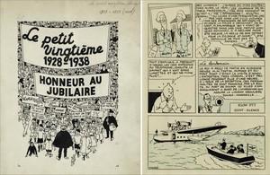 Portada del suplemento juvenil'Le petit vingtième' (izquierda) y página de 'El cetro de Ottokar' (derecha), subastadas este sábado en Sotheby's.