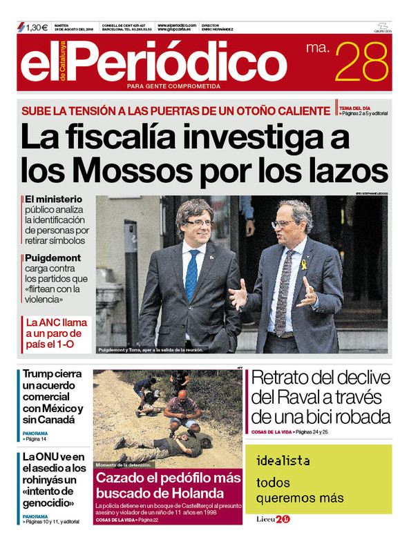 La portada de EL PERIÓDICO del 28 de agosto del 2018