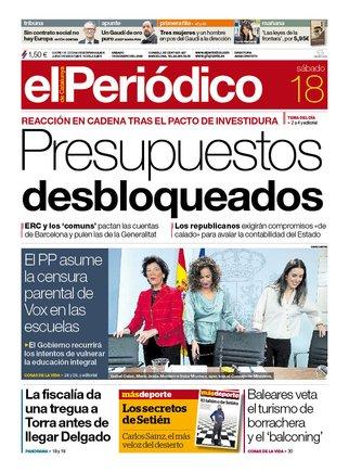 La portada de EL PERIÓDICO del 18 de enero del 2020