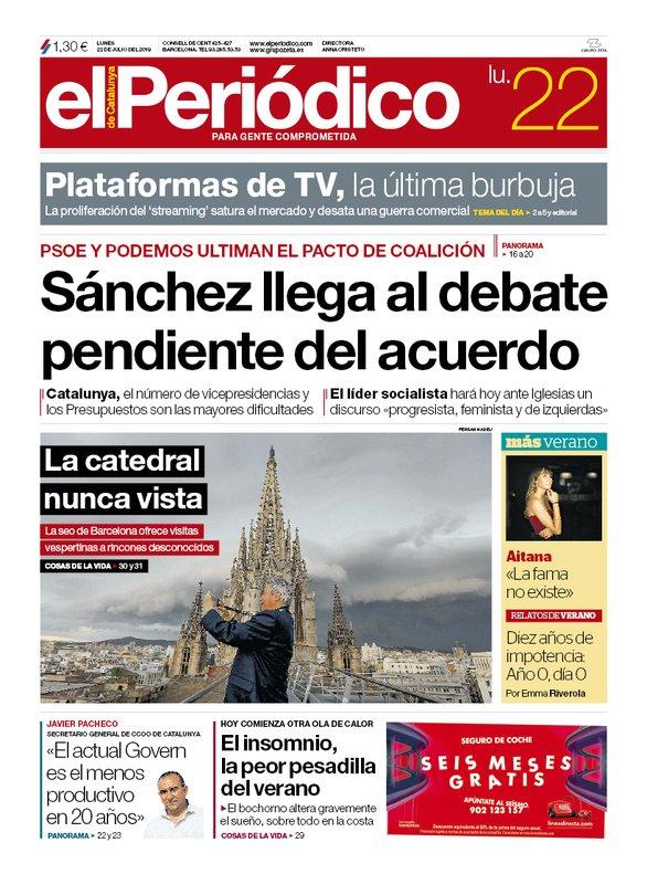 La portada de EL PERIÓDICO del 22 de julio del 2019