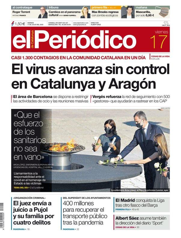 La portada de EL PERIÓDICO del 17 de julio del 2020