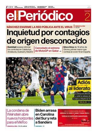 La portada de EL PERIÓDICO del 2 de marzo del 2020.