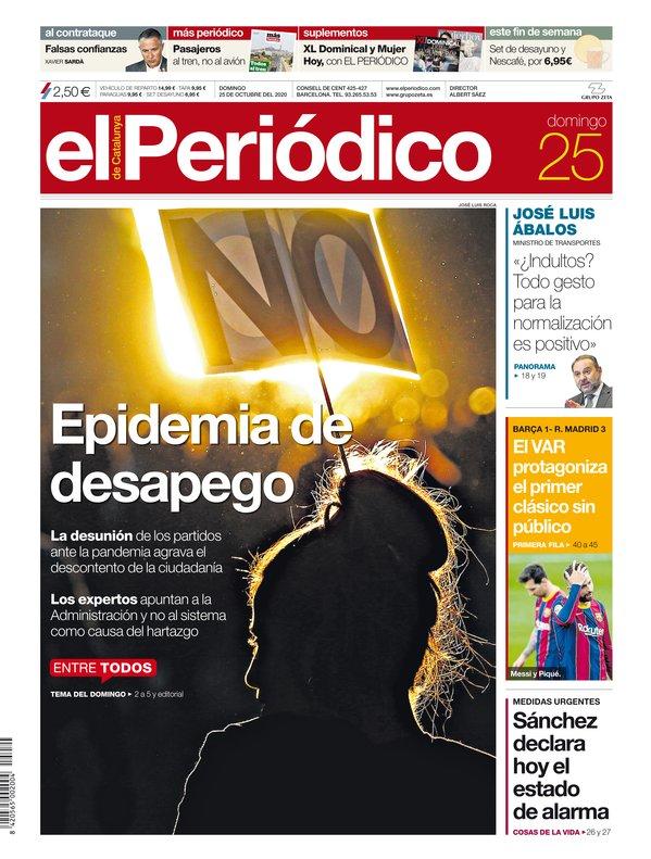 La portada de EL PERIÓDICO del 25 de octubre del 2020