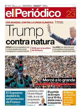 La portada de EL PERIÓDICO del 23 de septiembre del 2019.
