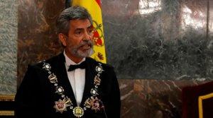 El presidente del CGPJ, Carlos Lesmes, en un momento de su discurso de apertura del curso judicial, este lunes 7 de septiembre.