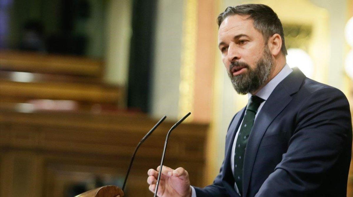 El presidente de Vox, Santiago Abascal, en el Congreso de los Diputados.
