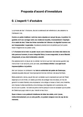 Propuesta de acuerdo de investidura de JxCat y ERC