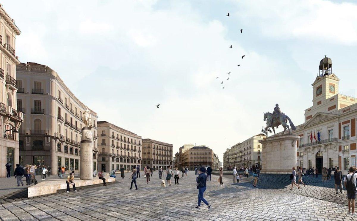 La Puerta del Sol con elementos decorativos nuevos en una imagen ficticia