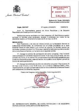 Resolución de la JEC sobrela participación de Junqueras en el debate de TV-3