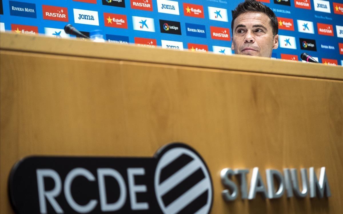 Rubi, en su presentación como nuevo técnico del Espanyol