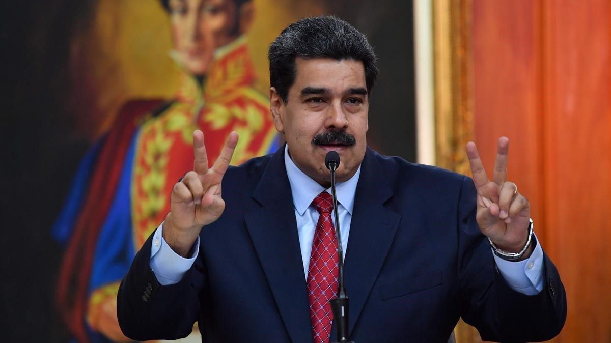 Nicolas Maduro ofrece una rueda de prensa en Caracas